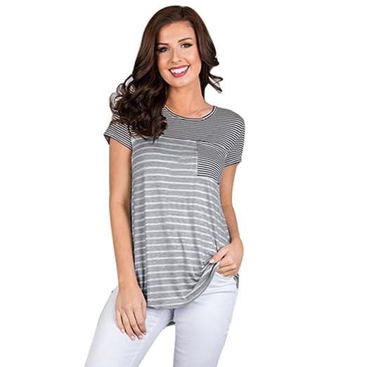 4044b20d0384 Womens Long Sleeve Stripe Maternity Nursing Dress Pregnancy Pocket  Nightgowns for Breastfeeding (Black-2