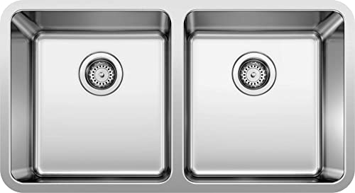 BLANCO, Stainless Steel 442768 FORMERA 50 50 Double Bowl Undermount Kitchen Sink, 33 X 18