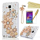 Note 4 Case,Galaxy Note 4 Case - Mavis's Diary 3D Handmade Bling Crystal Champagne String Flowers Gloden Shiny Diamond Pearls White Hard PC Case Cover for Samsung Galaxy Note 4 SM-N910S SM-N910C