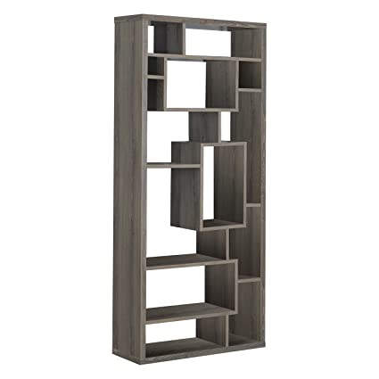 Monarch Specialties Dark Taupe Reclaimed Look Bookcase 72 Inch