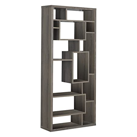 Monarch Specialties Dark Taupe Reclaimed-Look Bookcase, 72-Inch