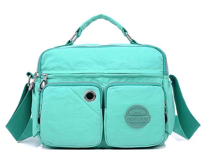 46736520b7 Tiny Chou Lightweight Waterproof Nylon Top-handle Handbag Compact Crossbody  Shoulder Bag with Pockets (9820 Mint Green)  Handbags  Amazon.com