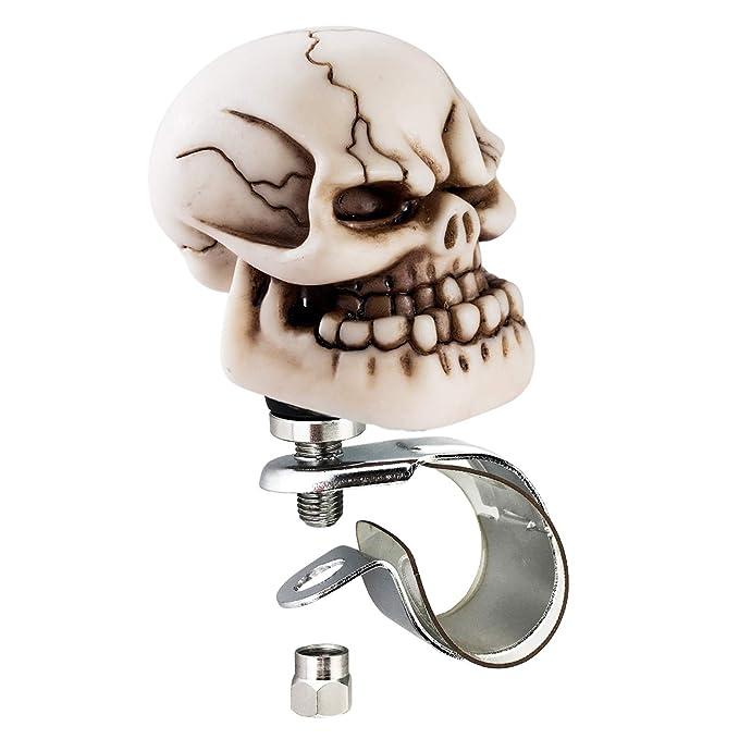 Arenbel Car Steering Wheel Spinner Skull Bone Head Rotating Suicide Knob Spinners Mounted on Outside Rim of Steering Wheel ARK088-BL088A