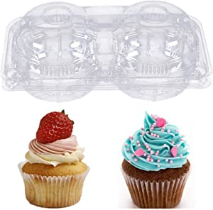 2 Compartment Clear Plastic Cupcake Container -20 packs -Stackable Regular Cupcake Carrier Holder, Thicker Plastic Food Storage Container, Non-slip Dome Topping Cupcake Containers for Cupcakes
