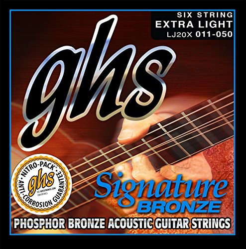 GHS Strings LJ20X Signature Bronze, Cryogenically Treated Acoustic Guitar, Extra Light (Ghs Bright Bronze Acoustic Guitar)