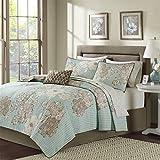 Madison Park Essentials Avalon King Size Quilt Bedding Set - Aqua, Khaki, Floral – 8 Piece Bedding Quilt Coverlets – Ultra Soft Microfiber Bed Quilts Quilted Coverlet