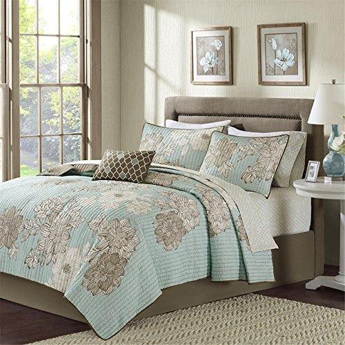 Madison Park Essentials Avalon King Size Quilt Bedding Set - Aqua, Khaki, Floral – 8 Piece Bedding Quilt Coverlets – Ultra Soft Microfiber Bed Quilts Quilted Coverlet ()
