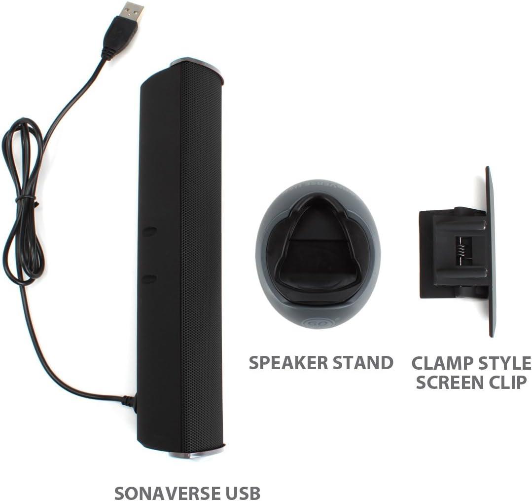 Gogroove Sonaverse Usb Lautsprecher Für Laptops Usb Betriebene Mini Soundbar Mit Tragbarem Externem Clip On Lautsprecherdesign Für Monitor Ein Kabel Für Audio Und Strom Schwarz Audio Hifi