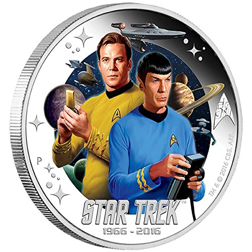 2016 TV Star Trek 50th Ann. Captain James T. Kirk and Spock Colorized $1 Brilliant Uncirculated