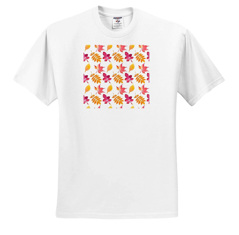 3dRose Alexis Design T-Shirts Yellow Pleasant Pattern of Purple Orange Leaves on White Background Pattern Autumn