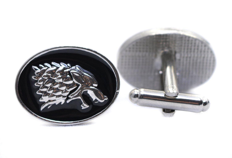 Boutons de manchette tête de loup de Game of Thrones Stark–Accessoires pour homme pour hommes dans boîte cadeau Beaux Bijoux