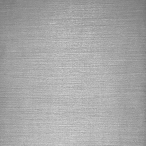 Silver Faux Textured Wallpaper - 76 sq.ft Rolls Made in Italy Portofino Textured wallcoverings Modern Embossed Vinyl Wallpaper Silver Gray Metallic Faux Grass Cloth Fabric Imitation Design Horizontal Stria Lines Plain Wall coverings