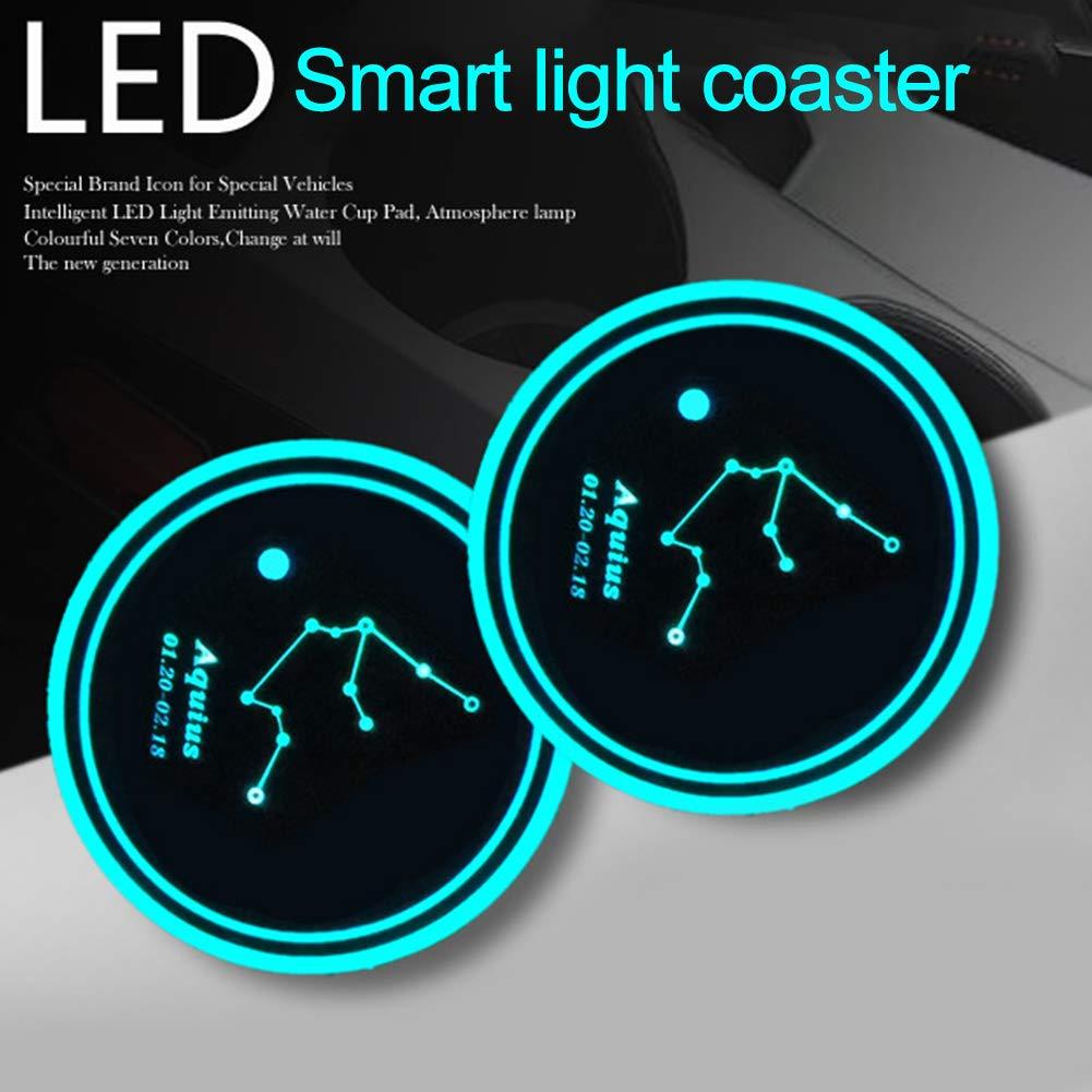 carga r/ápida resistente al agua resistente al calor Portavasos para coche antideslizante con USB con luz colorida inteligente