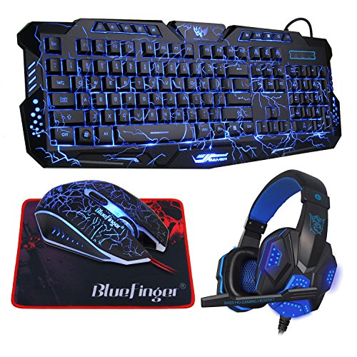 BlueFinger LED Backlit Glowing Keyboard,Programmable Gaming Mouse,Mouse Pad and Headset Set Combo for Gaming Office