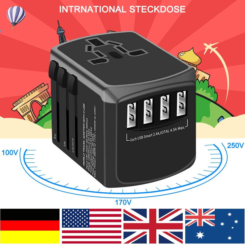 2 USB des Pays Adaptateur De Voyage Adaptateur Universel Chargeur Mural USB Tout en Un Adaptateur Secteur Mondial avec Ports USB pour l/'Europe UK US AU Chine Irlande Tha/ïlande 180