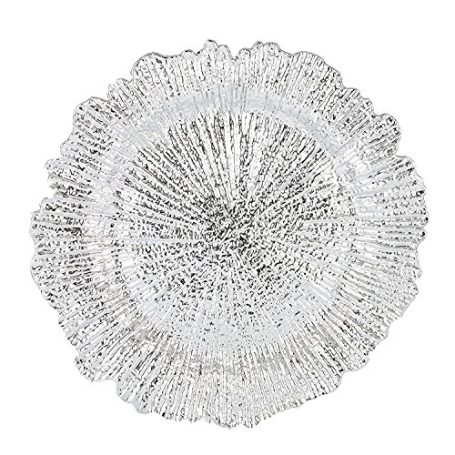 Benzara BM174314 Reef Pattern Round Plastic Charger Plate Set of 6 Electroplating Finish, One Size, Silver by Benzara