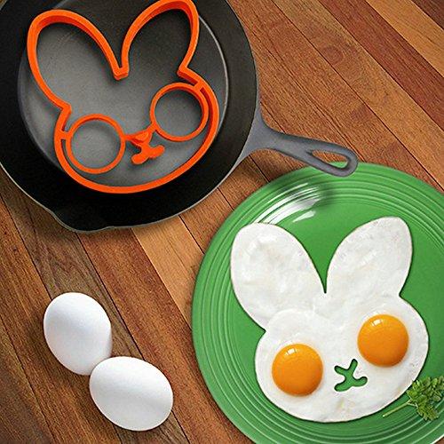 jecxep Cat Huevo Hornear & # xFF0 C; perfecto Anillo Moldes para huevos fritos Sunny Side Up fabricado con sólo ecológica antiadherente de silicona de grado ...