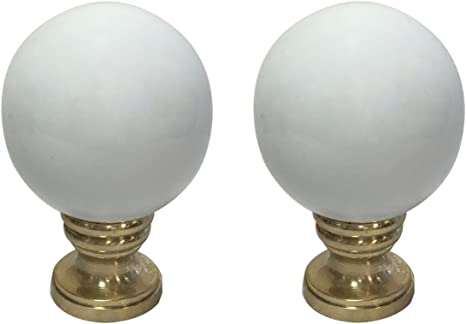 Royal Designs Ceramic Sphere Black Lamp Finial with Polished Brass Base