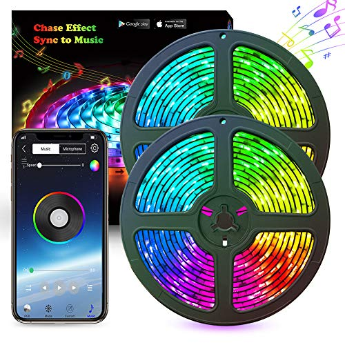 LED Strip Lights Abtong Music LED Lights Strip RGB 10M 33.8ft Bluetooth Strip Lights Dreamcolor Smart Phone APP Control Rope Lights Waterproof LED Strip Kit Support iPhone Android Rainbow Led Lights from Abtong