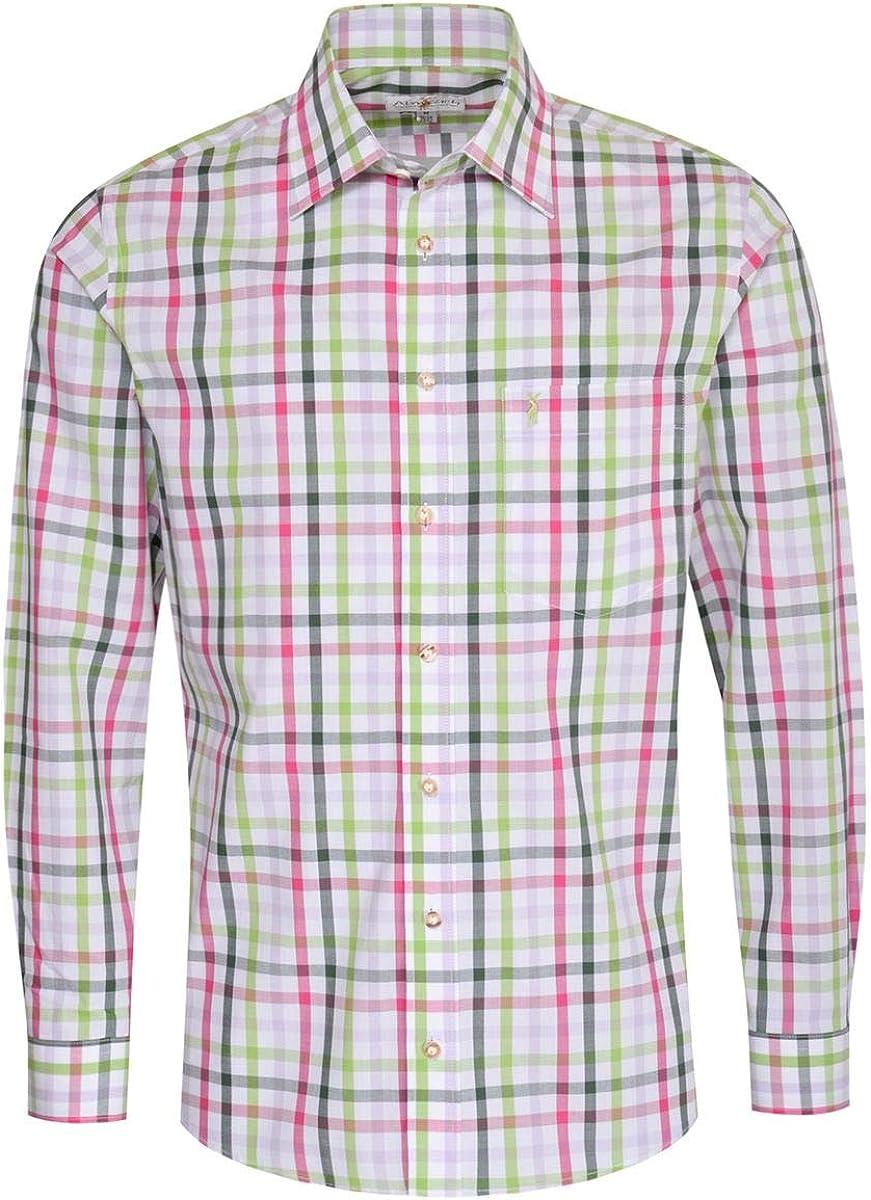 Almsach Edmund Regular Fit - Camisa para traje regional (varios colores, color fucsia y verde oscuro, incluye búsqueda del pueblo) multicolor L: Amazon.es: Ropa y accesorios
