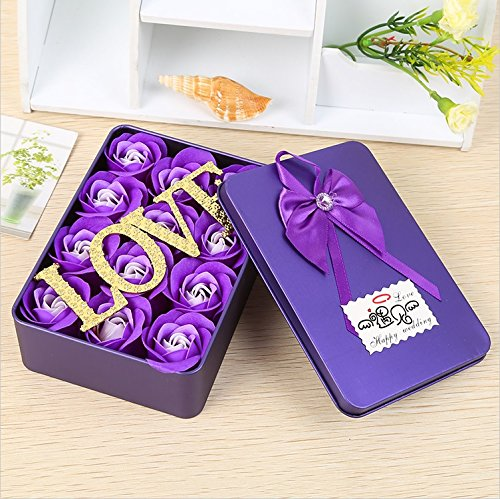 Dolly2u Purple Romantic Rose Soap Flower With Love And Metal Box Creative Valentines Day Gift 12 Pcs Box