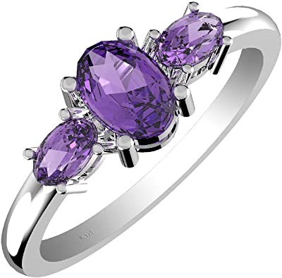 12 Carat Amethyst Ring in 14K White Gold plated Sterling Silver with Pink White and Orange Sapphires Size 7