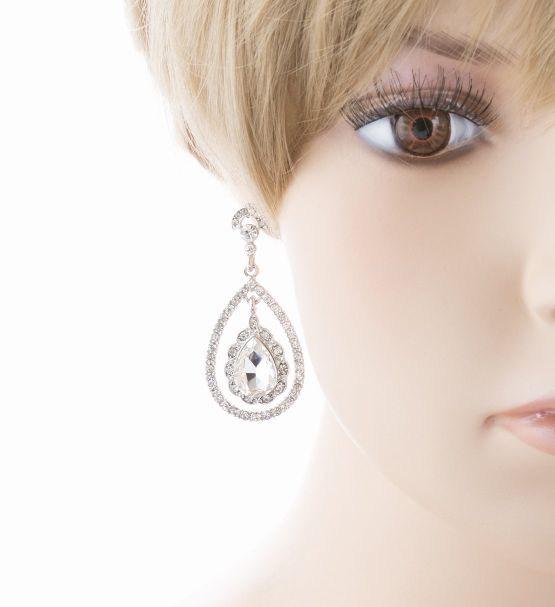 Bridal Wedding Jewelry Crystal Rhinestone Dazzle Elegant Dangle Drop Earrings SV by Accessoriesforever (Image #3)