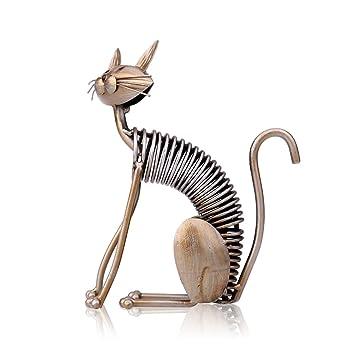 Amazon Com Tooarts Metal Sculpture Iron Art Cat Spring Handicraft