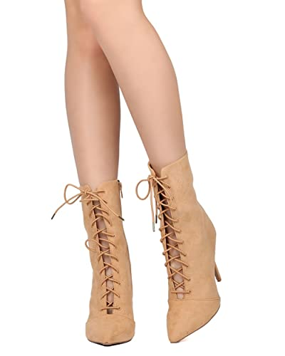 Women Faux Suede Stiletto Bootie - Dressy Formal Party - Lace Up Ankle Boot - GF89 by
