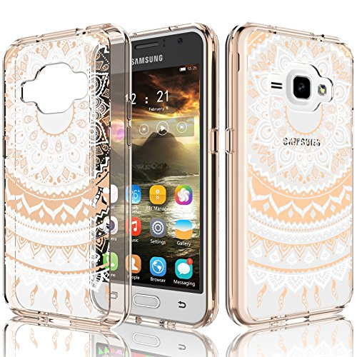 Galaxy Luna/Amp 2/Express 3 Case For Girls, J1 2016 Case, Tekcoo [TFlower] Transparent [Rose Gold] Cute Lovely Adorable Ultra Thin Clear Hard TPU Skin Scratch-Proof Bumper Cases For Samsung J120 (Samsung Galaxy 2 Case For Girls)