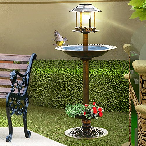 Bird Feeder And Planter With Solar Light - 2