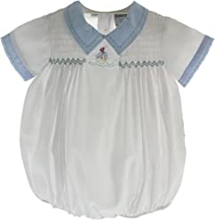 9f03b1c0fe4d Infant Boys White Bubble Outfit with Sailboat Freidknit Creations