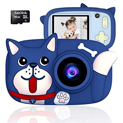 QUELLANCE Kids Camera, Digital Camera for Kids 15.0MP 2.4 Inch HD Shockproof Camera, Kids Video Camera with 16 GB Memory Card, Mini Kids Camcorder (1920x1080P) Camera Gifts for Girls Boys, Blue: Toys & Games