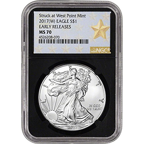 2017 (W) American Silver Eagle (1 oz) Early Releases WP Star Label Black Core $1 MS70 NGC
