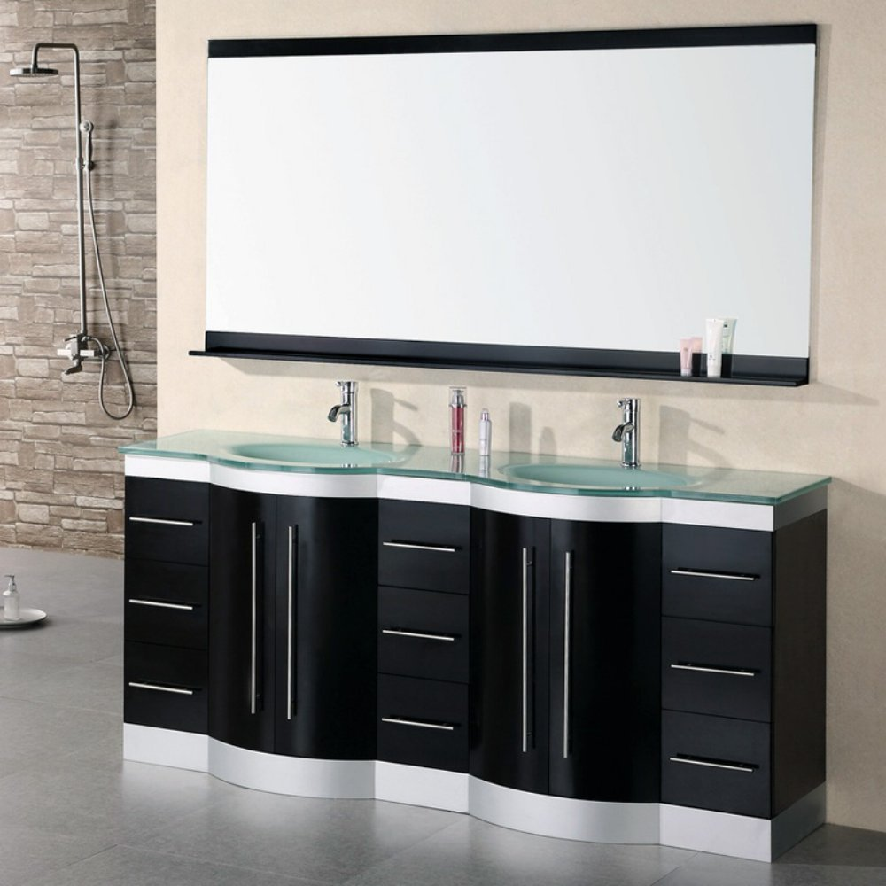 Double bathroom sink cabinets - Design Element Jade Double Integrated Glass Drop In Sink And Countertop Vanity Set 72 Inch Bathroom Vanities Amazon Com