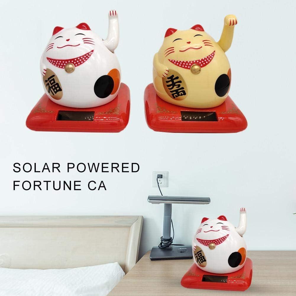 Gato de la Suerte Fortune Lucky Wealth Acogedor Gato Gato con energ/ía Solar Gato con Brazo agitador Pantalla de Inicio Decoraci/ón para el innate Gato de la Fortuna VENTDOUCE Afortunado Gato