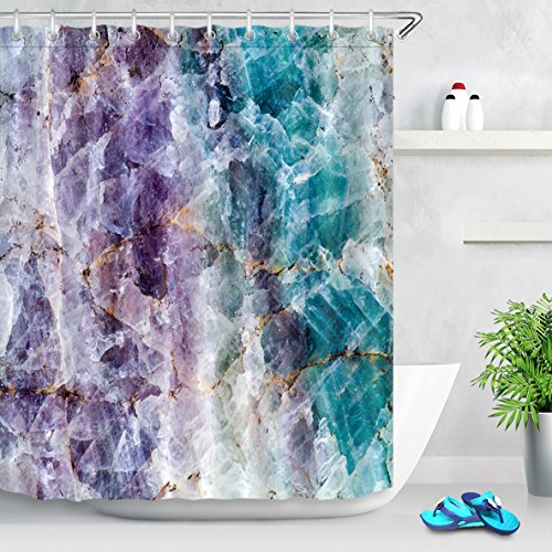 LB Colorful Crystal Mineral Pattern Shower Curtain, Mineral Rock Texture Decor for Bathroom, 70 x 70 Shower Curtain Waterproof (Contact Grey Paper Purple)
