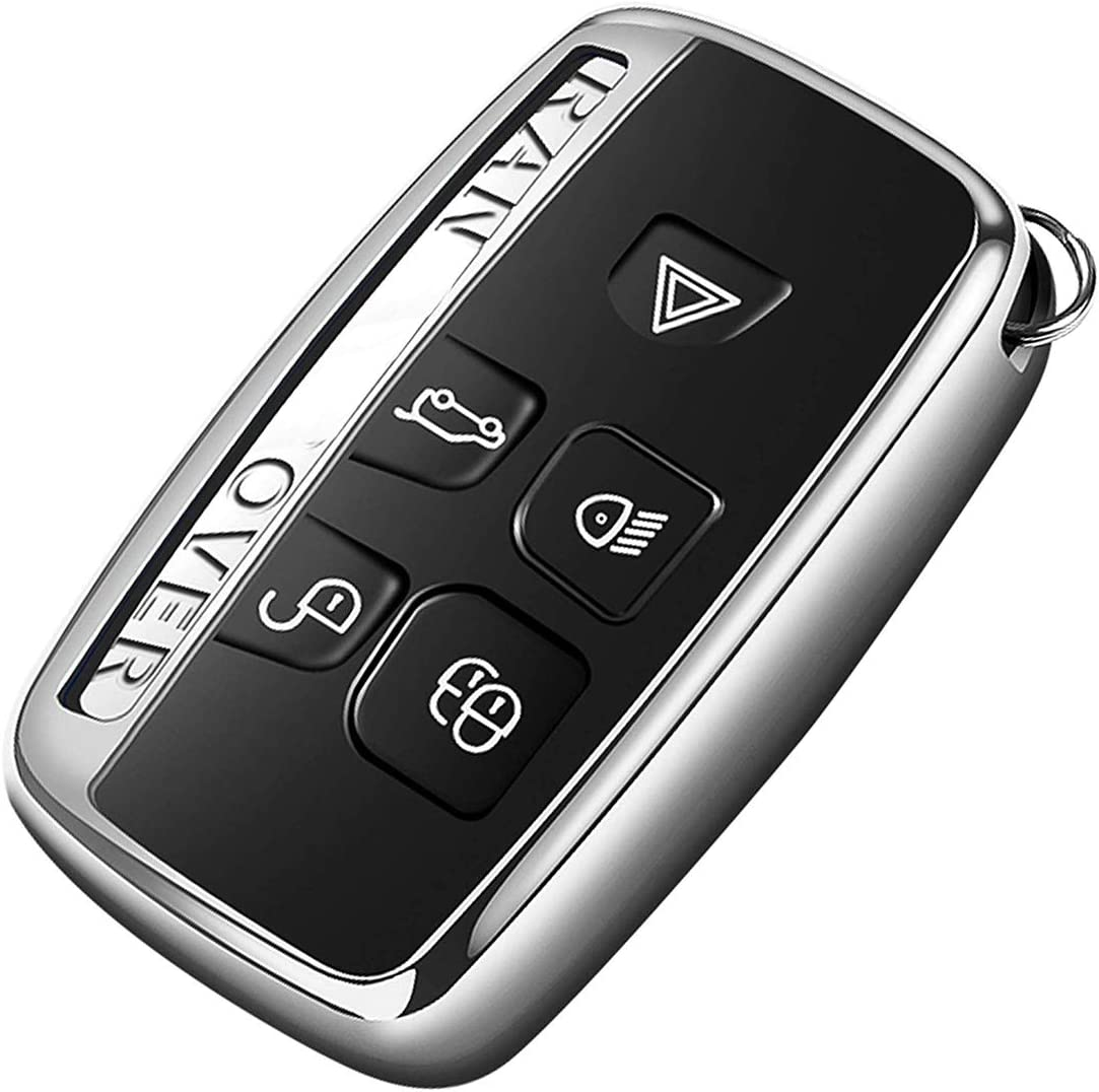 Intermerge Key Fob Cover for Range Rover Evoque Velar Sport Discovery Freelander2 LR4 Land Rover Sport and Jaguar XF XJ XE F-PACE F-Type 5-Buttons,Premium Soft TPU Protective Key Fob Case, Silver