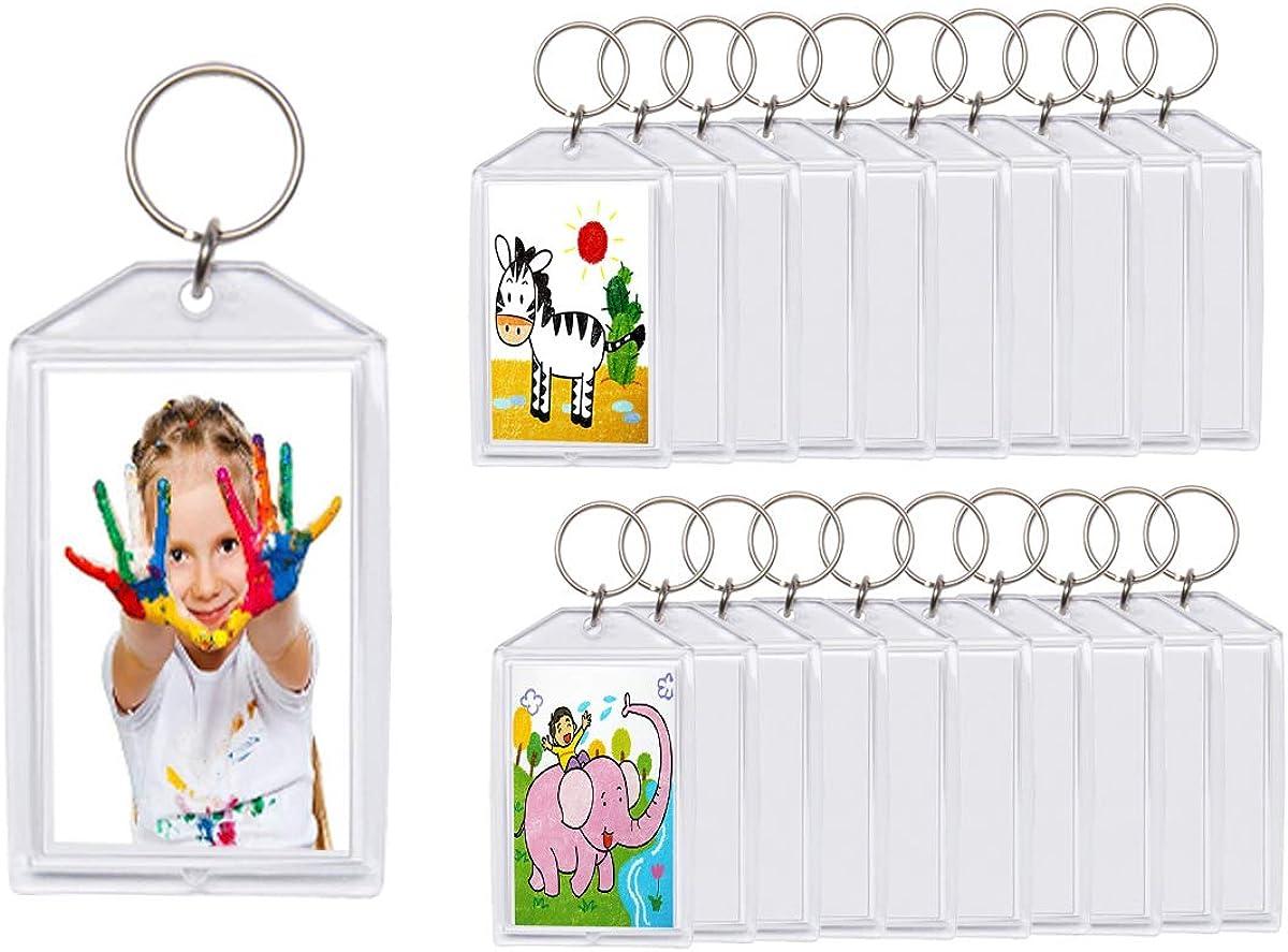 "20pcs Snap-in Custom Personalised Insert Photo Acrylic Blank Keyring Keychain Wholesale(Size:2""x3"")"