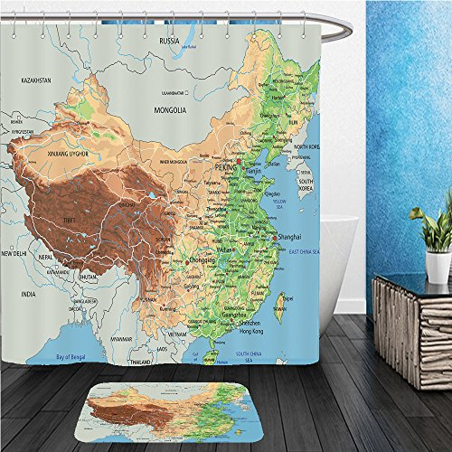 Beshowereb Bath Suit: ShowerCurtian & Doormat high detailed china physical map with labeling - Macy's Map Of