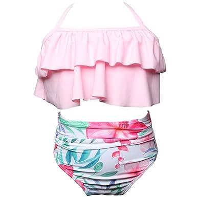 huateng Traje de baño a Juego con la Familia Bikini Vestido de baño para Mujer y niña, 6 Meses - 3 años de Edad Bebé Ropa de Playa Mamás e Hijas ...