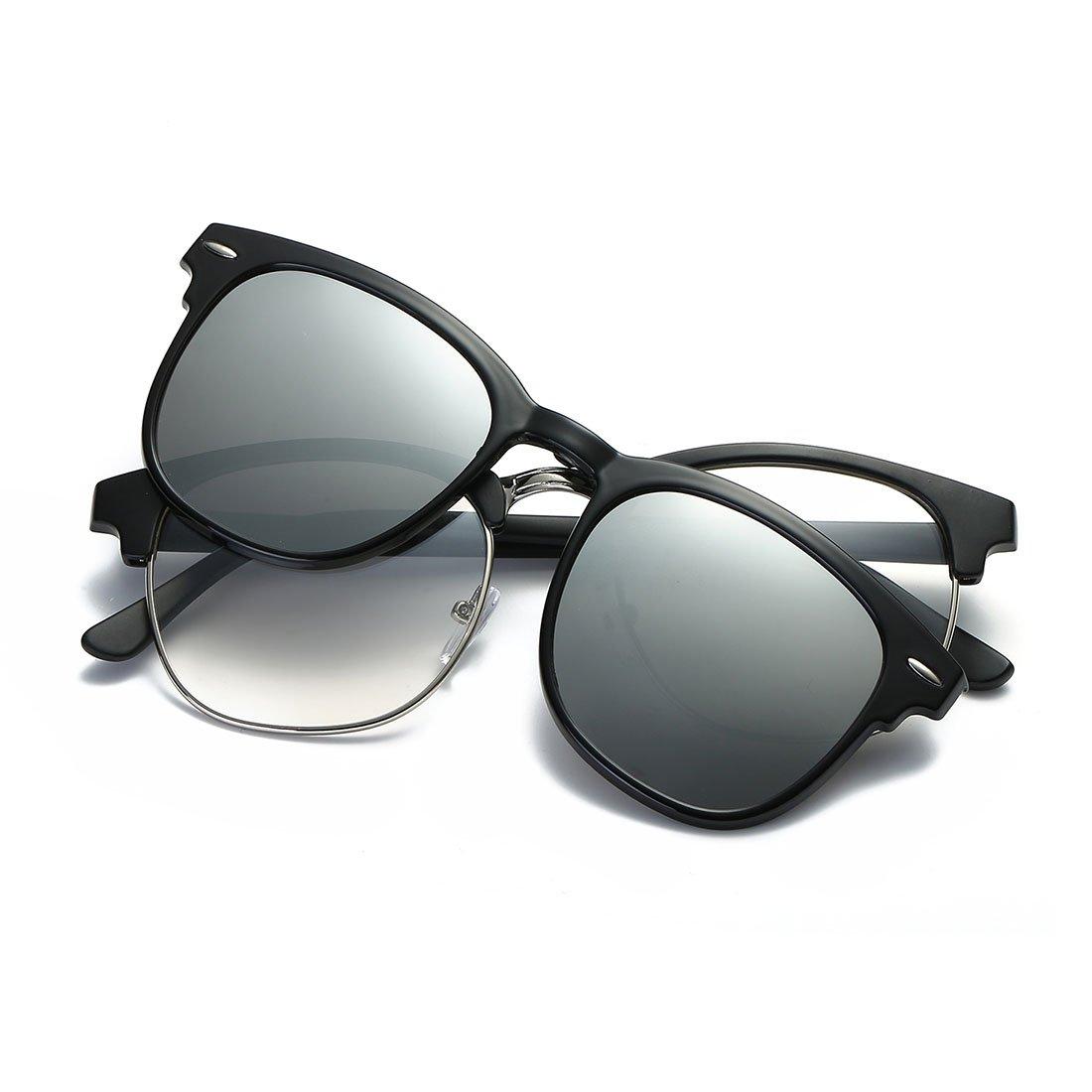7f42586ad7a Amazon.com  AEVOGUE Magnetic Clip-on Polarized Sunglasses Mens Plastic  Titanium (TR90) Frame Unisex Prescription Glasses AE0510 (Black Sliver