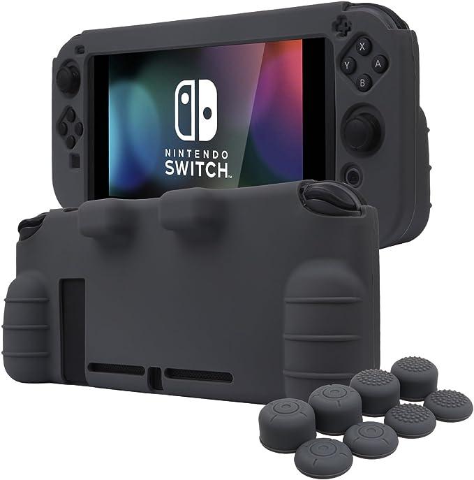 YoRHa EMPUÑADURA silicona caso piel Fundas protectores cubierta para Nintendo Switch x 1 (gris) Con Joy-Con los puños pulgar thumb gripsx 8: Amazon.es: Videojuegos