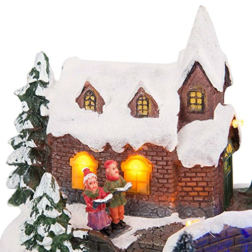 LED Christmas Water Fountain Musical Colour Changing Table Top Village Scene by Christow Decorations (Image #4)