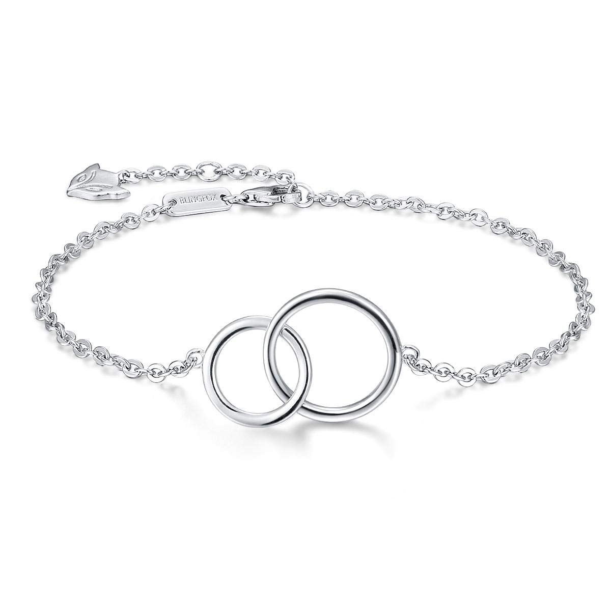 c4413a4e27f Blingfox 925 Sterling Silver Two Interlocking Infinity Circles Bracelet for  Sister Friend Mother: Amazon.co.uk: Jewellery