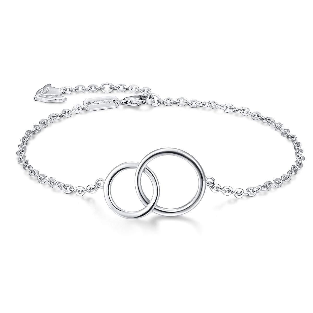 Blingfox 925 Sterling Silver Sister Friendship Bracelet Engraved Always My Sister Forever My Friend
