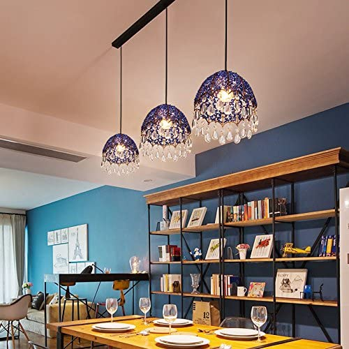 Cheerhuzz Modern Blue Crystal Pendant Lamps Lighting Fixtures 3 Lights Bohemian Style Iron Restaurant Living Room Suspension Light with Long Canopy PL656-3L