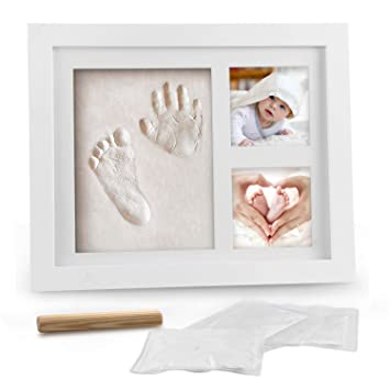 Baby Hand Print and Footprint Kit Newborn Baby Keepsake Frame Feet Imprint Mold Handprint Kit Unique Personalized Baby Shower Present for Baby Registry
