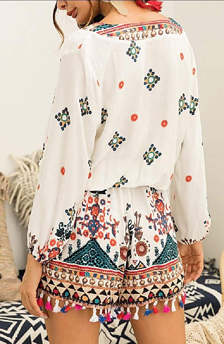 Qiangjinjiu Womens V Neck Printted Tassels 3//4 Sleeve Short Jumpsuit Rompers