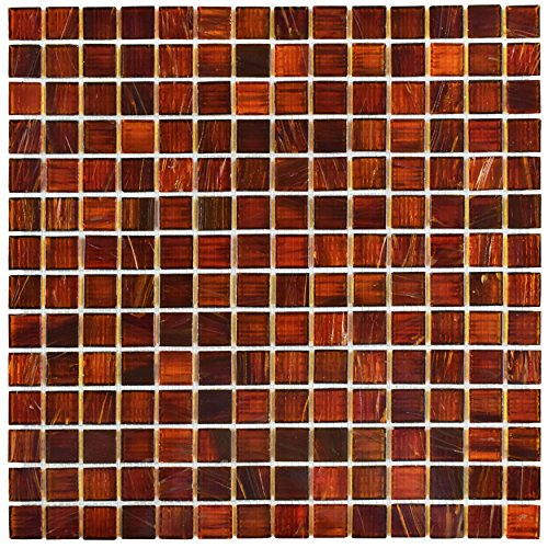 """Somertile GDRCOGRD Fused Glass Mosaic Wall Tile, 12"""" x 12..."""